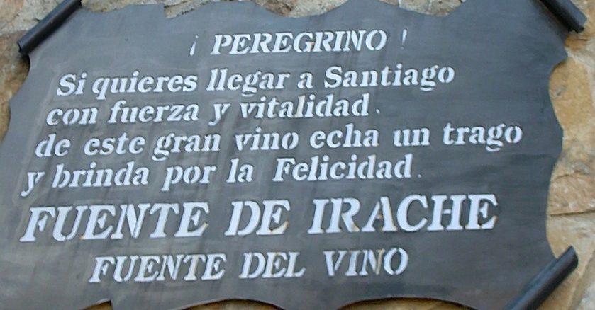 Scritta sulla fontana del vino lungo il Cammino de Santiago de Compostela
