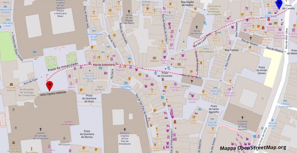 Mappa del percorso che faceva l'antico pellegrino medievale per raggiungere l'ingresso della Cattedrale di Santiago de Compostela
